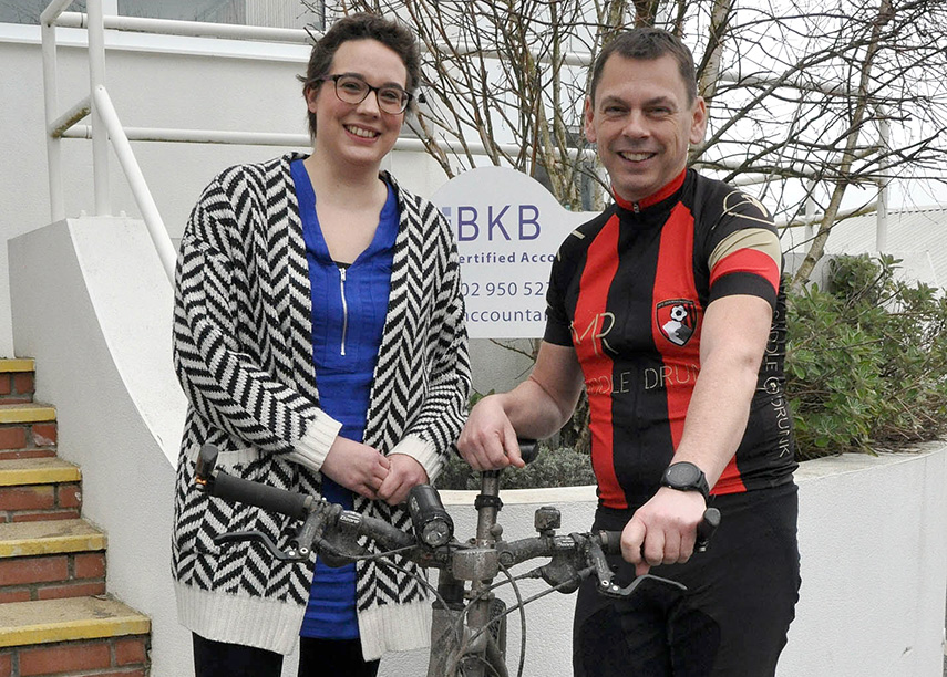 PARIS-BOUND: Alistair Wallace, a Director of BKB Accountants Ltd in Poole, will cycle solo from London to Paris to raise funds for Dorset Cancer Care Foundation, which helped his colleague Trina Pittwood during her cancer treatment.