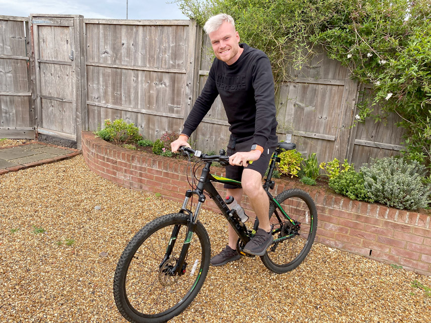 Picture caption: CYCLE CHALLENGE - Chris Helberg, 26, will attempt to ride from Bracknell in Berkshire to Bournemouth Pier without stopping on September 19th to raise money for Dorset Cancer Care Foundation (DCCF).