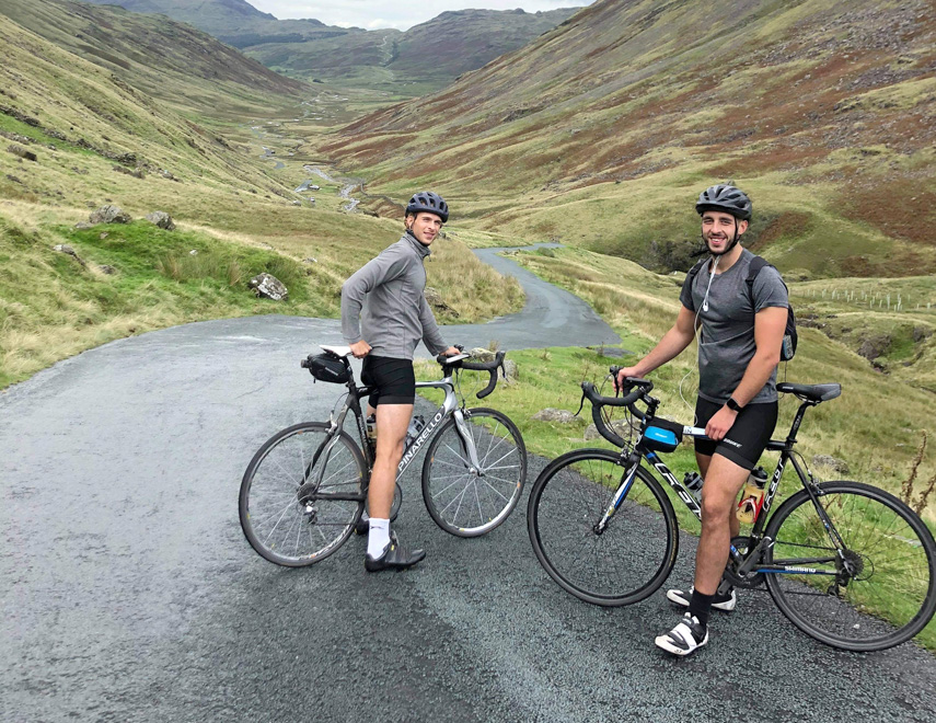 WHEEL COMMITMENT – Joe O'Toole and Natty Falzoni from Bournemouth seen here Lake District spent a week cycling 700km to help Dorset Cancer Care Foundation (DCCF).